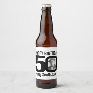 50th Birthday custom photo name label