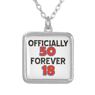 50th birthday designs silver plated necklace