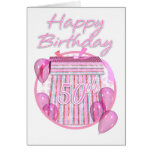 50th Birthday Gift Box - Pink - Happy Birthday Greeting Cards