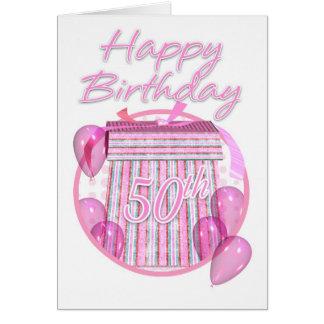 50th Birthday Gift Box - Pink - Happy Birthday Greeting Card