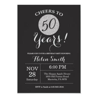 50th Birthday Invitation Black and Silver Glitter
