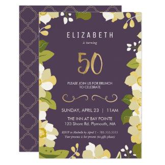 50th Birthday Invitation Customize Floral Fiftieth