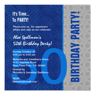 50th Birthday Modern Blue and Silver S302 13 Cm X 13 Cm Square Invitation Card