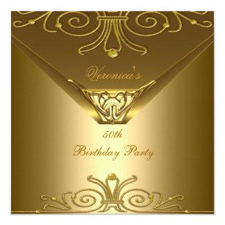 50th Birthday Party Elegant Gold Art Deco Card