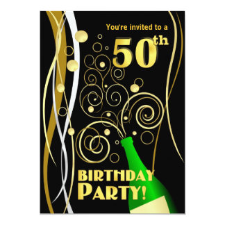 50th Birthday Party - Fun and Festive Champagne Card