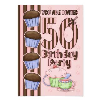 50th Birthday Party Initation  - Cupcakes And Card