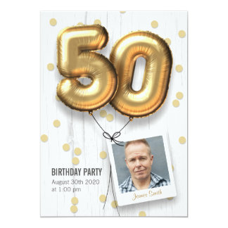 50th Birthday Party Invitation Adult Gold Balloons