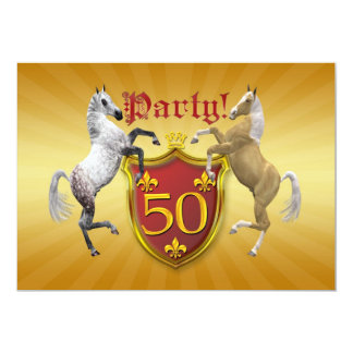 50th Birthday party invitation with coat of arms
