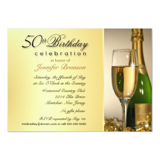 50th Birthday Party Invitations - Champagne Gold