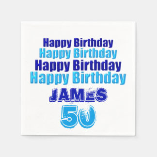 50th Birthday Party Personalized Paper Napkins