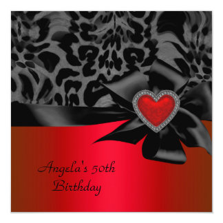 50th Birthday Party Red Silver Wild Black White Card