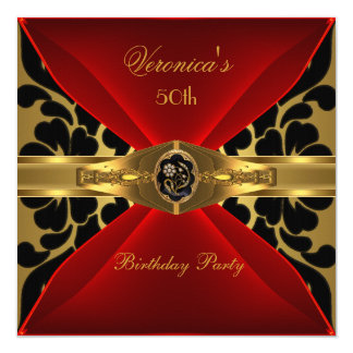 50th Birthday Red Gold Black Damask Floral Jewel Card