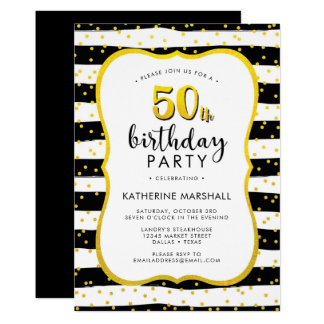 50th Birthday Striped Gold and Black Card