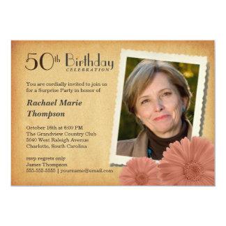 50th Birthday Vintage Daisy Photo Invitations