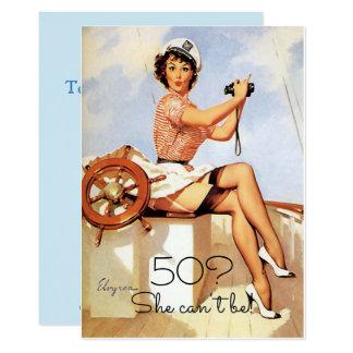 50th Birthday, Vintage, Sexy Pin Up Girl, Custom Card