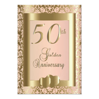 50th Gold and Rose Wedding Anniversary | DIY Text 13 Cm X 18 Cm Invitation Card