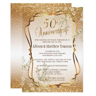 50th Gold Glitter Wedding Anniversary | DIY Text Card