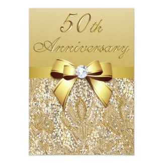 50th Gold Wedding Anniversary Faux Sequins and Bow