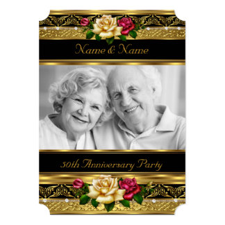 50th Golden Photo Wedding Anniversary Party Rose 13 Cm X 18 Cm Invitation Card
