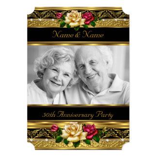 "50th Golden Photo Wedding Anniversary Party Rose 5"" X 7"" Invitation Card"