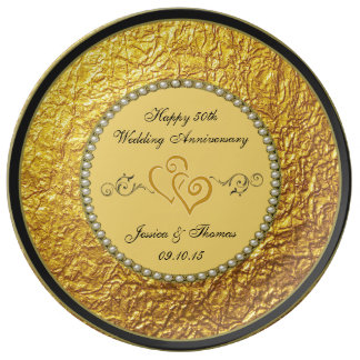 50th Golden Wedding Anniversary Decorative Plate Porcelain Plate
