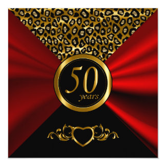 50th Golden Wedding Anniversary | Leopard Pattern Card