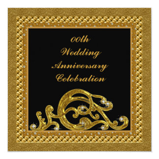 50th Golden  Wedding Anniversary Party Invitation