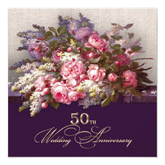 """50th Golden Wedding Anniversary Party Invitations 5.25"""" Square Invitation Card"""