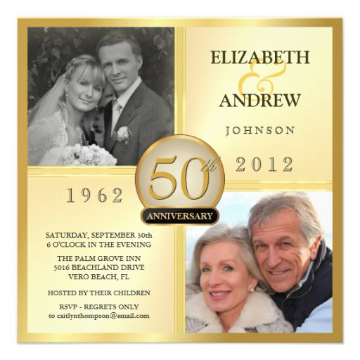 50th Golden Wedding Anniversary Photo Invitations