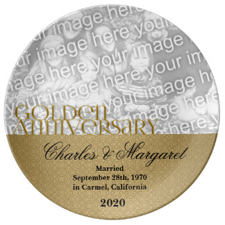 50th Golden Wedding Anniversary Photo Porcelain Plates