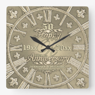 50th Golden Wedding Anniversary Square Square Wall Clock