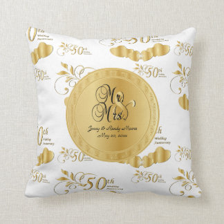 50th Golden Wedding Anniversary Throw Pillow