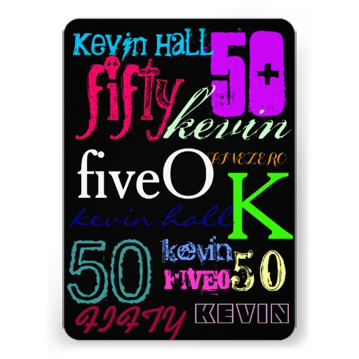 50th Graffiti on Black Custom Invitation