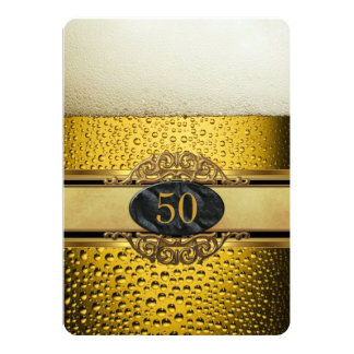 50th Mans Beer Black Gold Ornate Birthday Party 13 Cm X 18 Cm Invitation Card