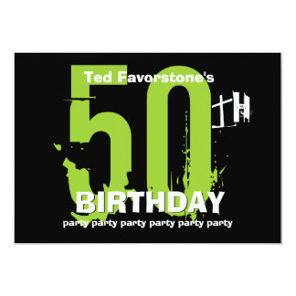 50th Modern Birthday Party Green and Black W1507 Card
