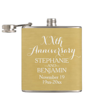 50th or Other Wedding Anniversary Personalized Hip Flask