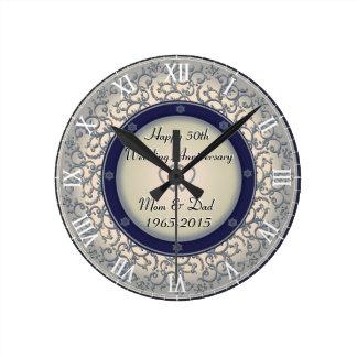 50th Silver Wedding Anniversary Round Clock