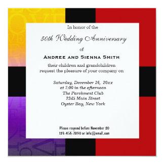 50th Wedding Anniversary 13 Cm X 13 Cm Square Invitation Card