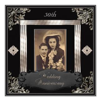 50th Wedding Anniversary Art Deco Black Sepia 13 Cm X 13 Cm Square Invitation Card