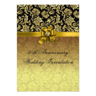 50th Wedding Anniversary Black & Gold Damasks 2 Custom Invites