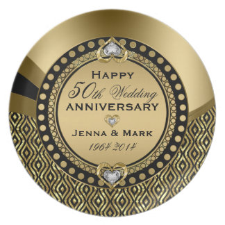 50th Wedding Anniversary Black & Gold Geometric Plate