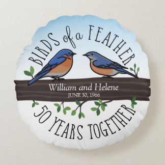 50th Wedding Anniversary, Bluebirds of a Feather Round Cushion