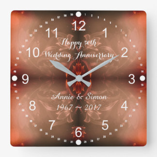 50th Wedding Anniversary Brown Floral Square Wall Clock