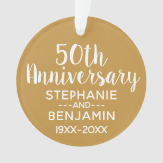 50th Wedding Anniversary Can Edit Gold Color PHOTO Ornament