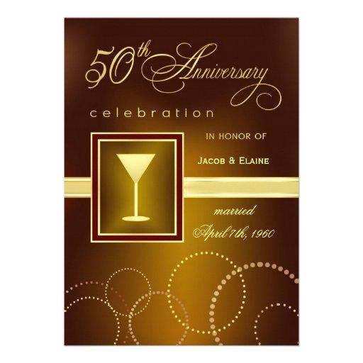 50th Wedding Anniversary Celebration - Modern Personalized Invitations
