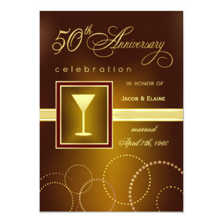 50th Wedding Anniversary Celebration - Modern Personalized Invitations
