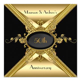 50th Wedding Anniversary Elegant Gold Golden 13 Cm X 13 Cm Square Invitation Card
