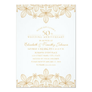 50th Wedding Anniversary Elegant Golden Look Lace Card