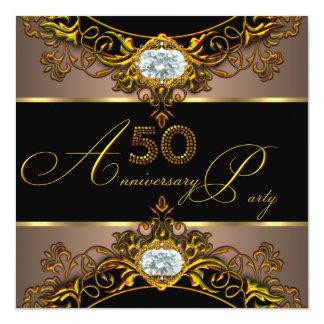 50th Wedding Anniversary Elite Coffee Black Gold 2 13 Cm X 13 Cm Square Invitation Card