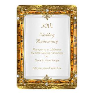 50th Wedding Anniversary Gold Bamboo White Pearl 13 Cm X 18 Cm Invitation Card